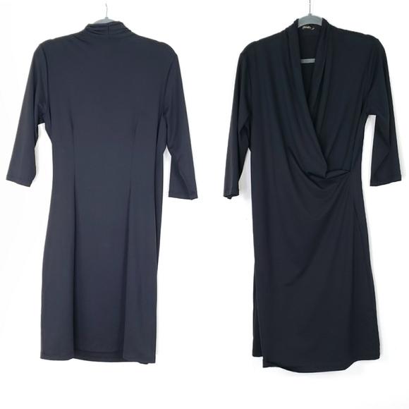 J. Mclaughlin  Black v neck drape front dress